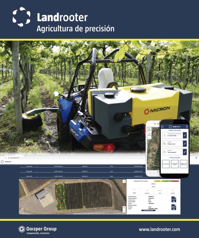 Landrooter software for control of the Micron centrifugal sprayer on woody crops